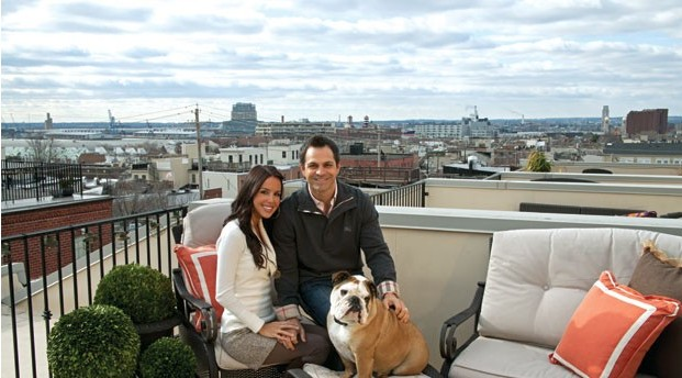 Orioles second baseman Brian Roberts likes to unwind with his wife, model Diana Roberts, and their English bulldog Rocky on their roof deck.
